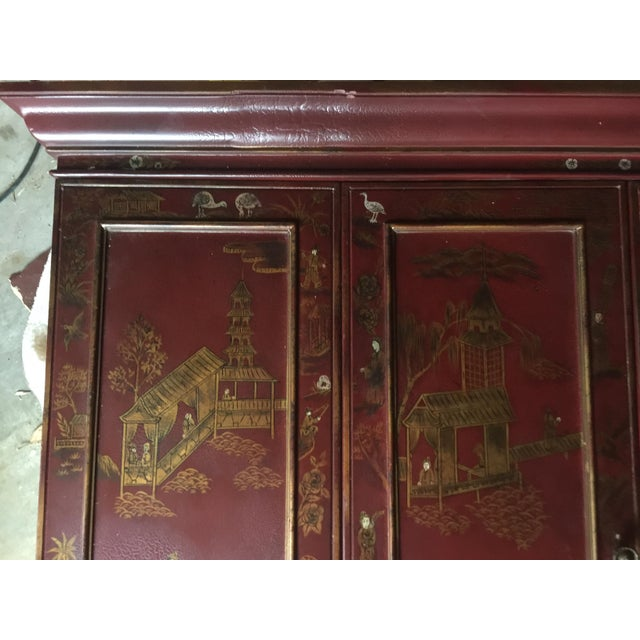 Gorgeous Maitland Smith chinoiserie tv cabinet in a beautiful empire red color. Originally retailed at Horchow for $1200....