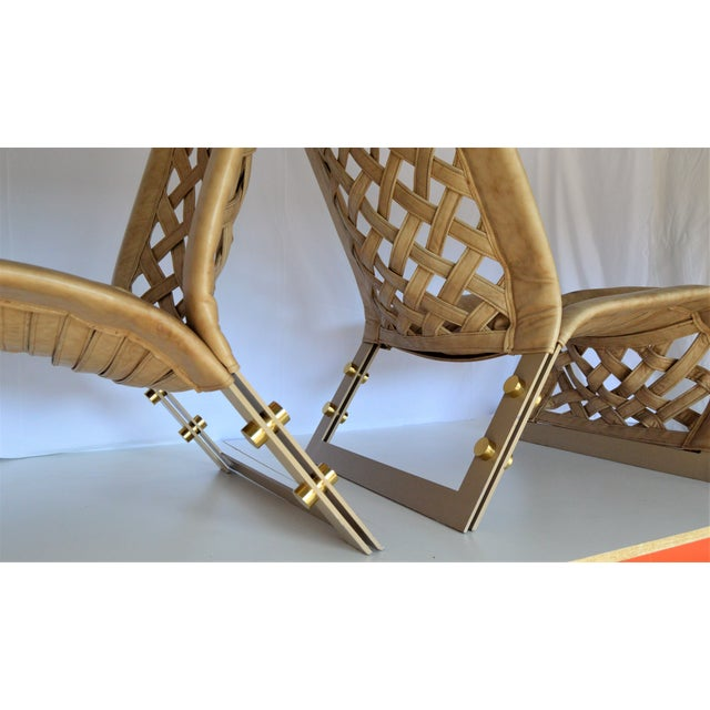 Gold Rare Large Leather Lounge Club Chairs by Marzio Cecchi- a Pair - Italian Italy Mid Century Modern Palm Beach Boho Chic Designer For Sale - Image 8 of 12