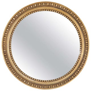 19th C. English Carved Giltwood Round Mirror