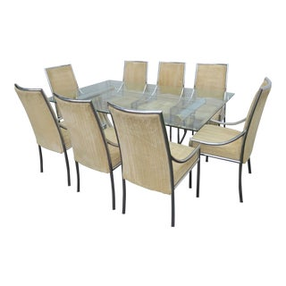 Hollywood Regency Glass Top Dining Table With Eight Chairs by Basset For Sale