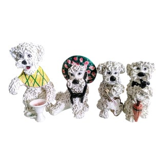 Lot of 4 Italian Made Ceramic Spaghetti Poodle Statues For Sale