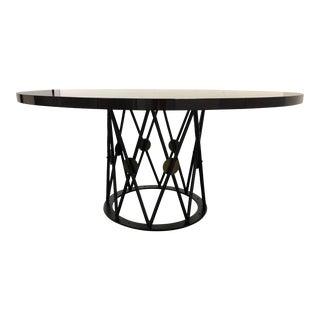 Custom Macassar Starburst Dining Table + Hammered Metal Pedestal For Sale