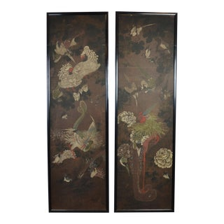 Mid 19th Century Chinese Bird and Botanical Paintings, Framed - a Pair For Sale