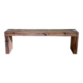 """Artisan Made Vintage Wood Waterfall Bench 55"""" For Sale"""