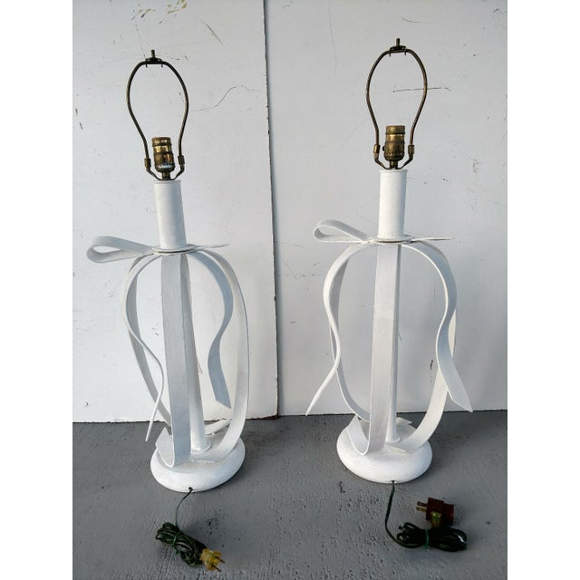 Mid-Century Modern 1970's Metal Ribbon Table Lamps - a Pair For Sale - Image 3 of 9