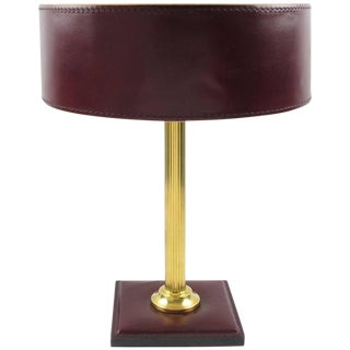 Jacques Adnet Red Hand-Stitched Leather-Clad Table Lamp For Sale