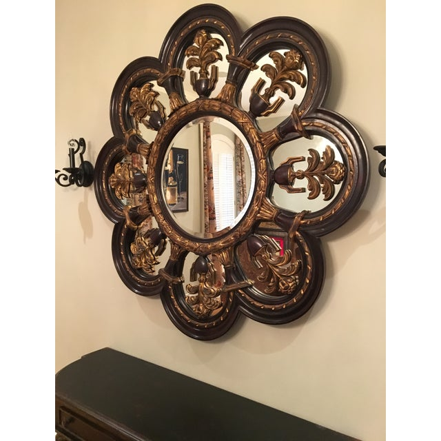French New Orleans Style Large Wood Wall Mirror For Sale - Image 3 of 5