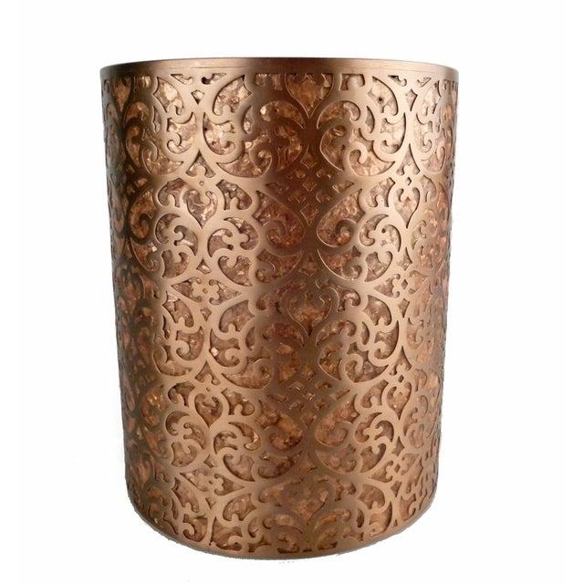 Decorative Capiz Shell & Metal Wastebasket - Image 7 of 9