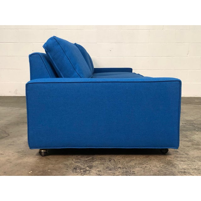 """Textile Royal Blue Mid-Century Modern Sofa ~ 103"""" Long For Sale - Image 7 of 11"""