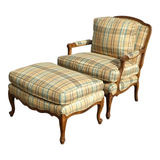 Vintage Ethan Allen Style Gold Plaid Chair & Ottoman For Sale