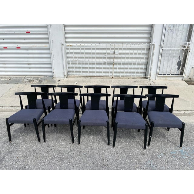 Gorgeous set of 10 midcentury modern style Klismos chair in black lacquer finish chair are made of wood and they been...