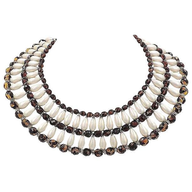 1960s Vendome Faux-Pearl Bib Necklace For Sale