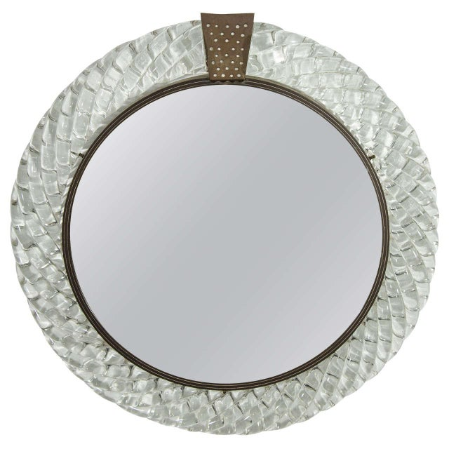 Italian Murano Art Glass and Bronze Wall or Vanity Mirror For Sale - Image 10 of 10