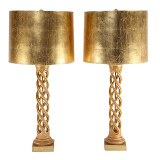 Pair of Frederick Cooper Studios Carved Helix Table Lamps, Circa 1950s For Sale