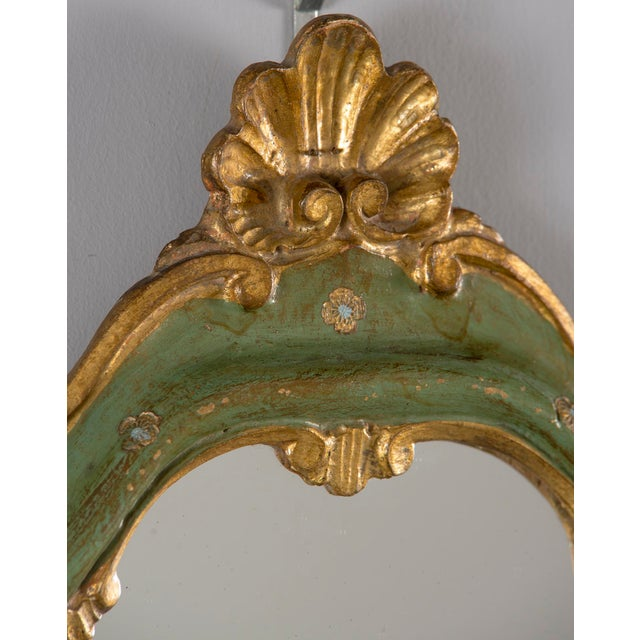 Small French Green and Gilded Crown Top Mirror For Sale - Image 9 of 10