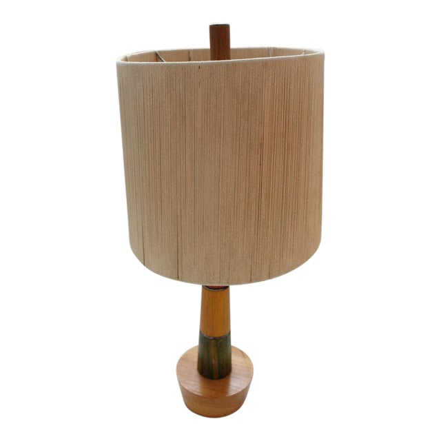 Retro Wooden Table Top Lamp For Sale