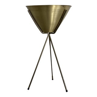 Mid Century Brass and Teal Planter on Stand For Sale