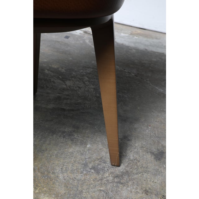 2010s Mid-Century Modern Cumberland Clover Brown Upholstered Maple Base Guest Chair For Sale - Image 5 of 8