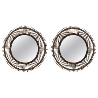 Pair of Large Decorative Convex Rattan Mirrors For Sale