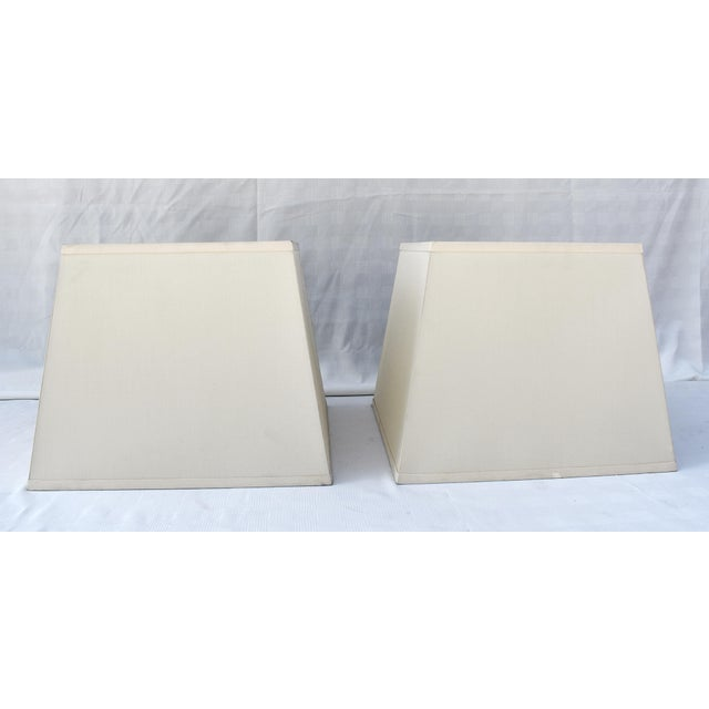 Modern Ivory Silk Square Shades W/Diffusers - a Pair For Sale - Image 3 of 4