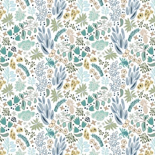 House of Harris Cambridge Fabric, Blue Multi For Sale