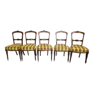 Antique William IV Plaid Upholstered Walnut Dining Chairs - Set of 5 For Sale