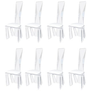 Set of Eight Lucite Dining Chairs For Sale