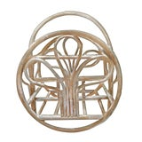 Image of 1970s Vintage Franco Albini Style Rattan Bent Bamboo Cane White Washed Magazine Rack For Sale