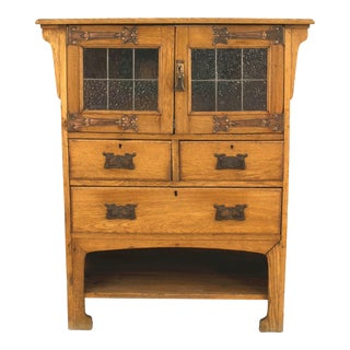 English Arts & Crafts Oak Cupboard Cabinet For Sale