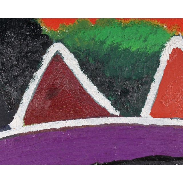 Late 20th Century Late 20th Century Francisco Sainz Signed Oil on Canvas Abstract Painting For Sale - Image 5 of 7