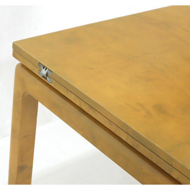 Karl Springer Lacqured Goat Skin Parchment Square Flip Top Dining Table For Sale - Image 4 of 13