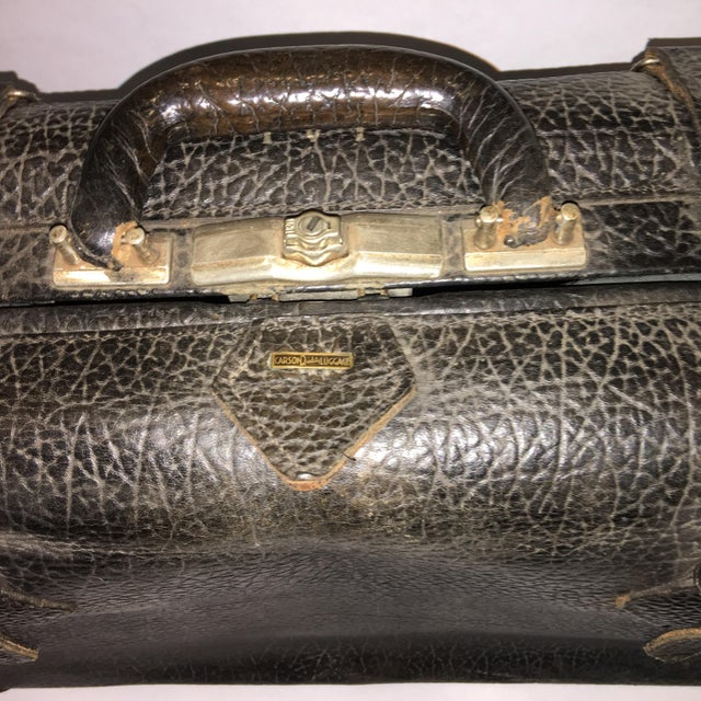 Industrial Vintage Carson Quality Seal Skin Suitcase For Sale - Image 3 of 11