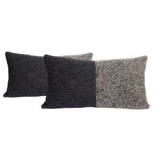 Gray Wool Mohair Pillows - a Pair For Sale