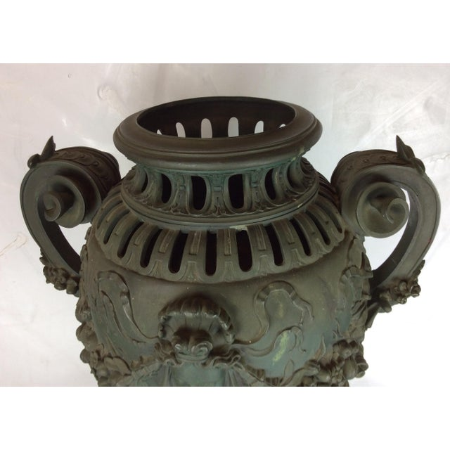 Gold Antique French Carved Bronze Urn For Sale - Image 8 of 10