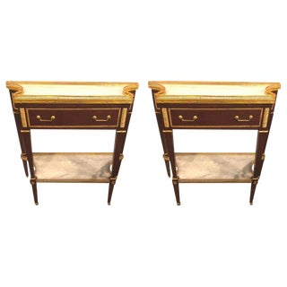 Pair of Russian Neoclassical Style Consoles/Servers or Commodes With Marble Tops For Sale