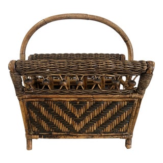 1970s Boho Chic Brown Wicker and Rattan Bamboo Bentwood Magazine Rack For Sale