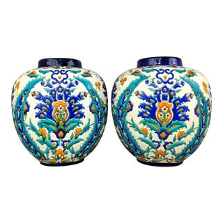 1920's Boch Freres Keramis Art Deco Floral Vases-a Pair For Sale