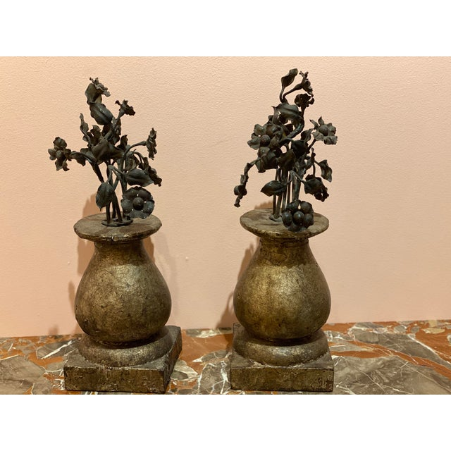 19th Century Finials With Iron Decoration - a Pair For Sale In Dallas - Image 6 of 7
