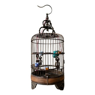 Vintage Chinese Bamboo Birdcage For Sale
