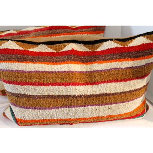Pair of Navajo Indian Striped Saddle Blanket Weaving Pillows For Sale - Image 4 of 4