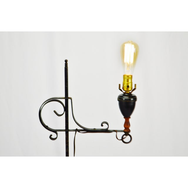 Arts & Crafts Vintage Arts & Crafts Mission Style Wrought Iron Adjustable Height Floor Lamp For Sale - Image 3 of 13