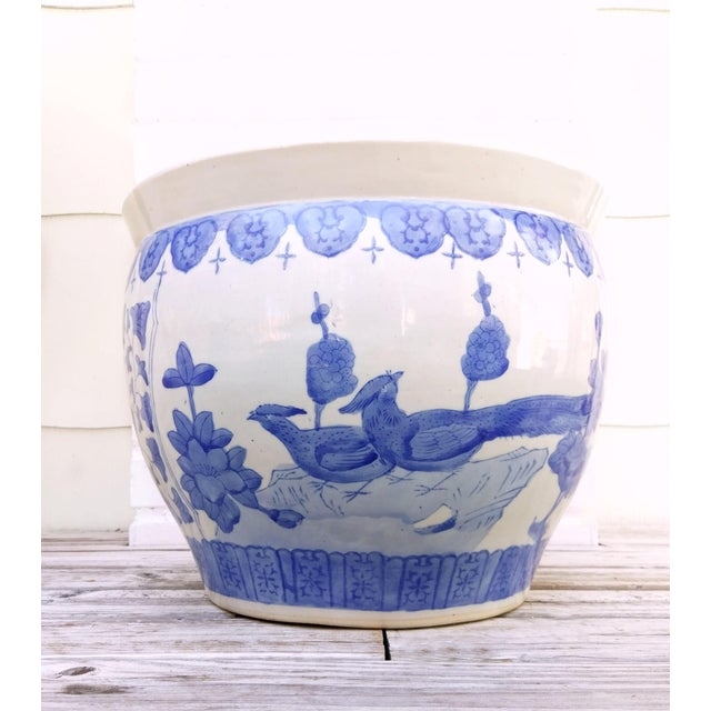 Ceramic Large Asian Blue & White Pot For Sale - Image 7 of 7