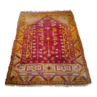 "Distressed Persian Prayer Rug - 3'9"" x 5'7"" For Sale"