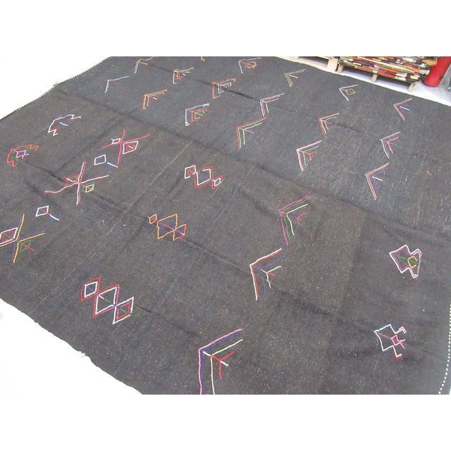 Mid-Century Modern Embroidered Dark Brown Goat Hair Kilim Rug - 11′7″ × 12′6″ For Sale - Image 3 of 6