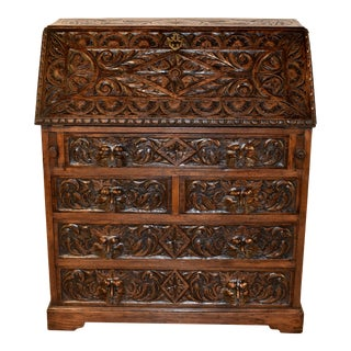 19th Century English Oak Fall Front Desk For Sale
