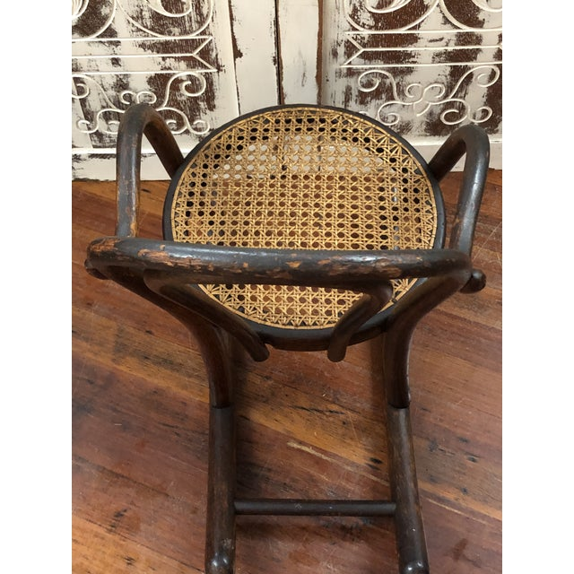 Late 20th Century Vintage Thonet Bentwood Childs Cane Set Rocker For Sale - Image 10 of 13