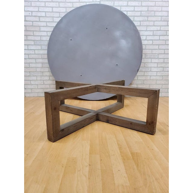 Wood Restoration Hardware Heston Round Coffee Table For Sale - Image 7 of 8