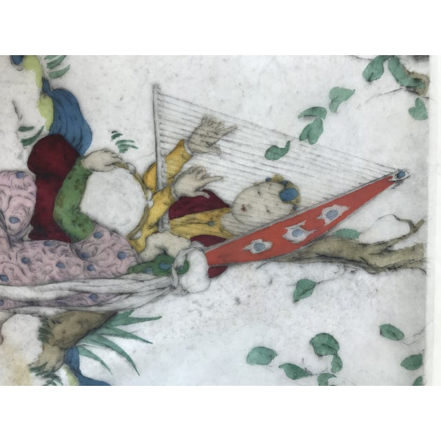 Wood Framed Elyse Ashe Lord Women With Harp and Tamborine Musical Painting For Sale - Image 7 of 13
