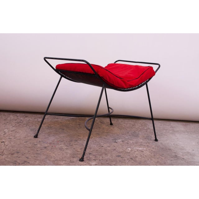 Mid-Century Modern Iron Footstool / Ottoman For Sale - Image 12 of 12