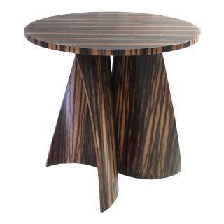Costantini Andino Custom Bentwood Round Side Table in Macassar Ebony For Sale